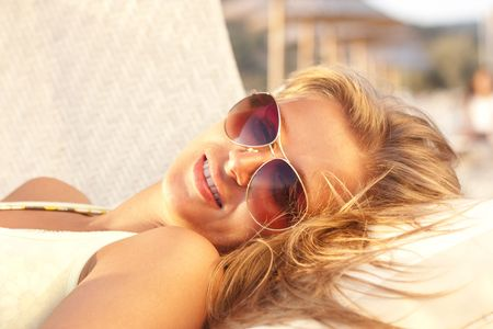 Portrait of the beautiful girl in sunglasses Stock Photo - 5790506