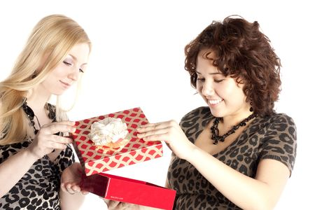 beautiful girl receives a gift from the girlfriend for Christmas Stock Photo - 5938924