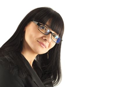 Portrait of the smiling business woman in glasses photo