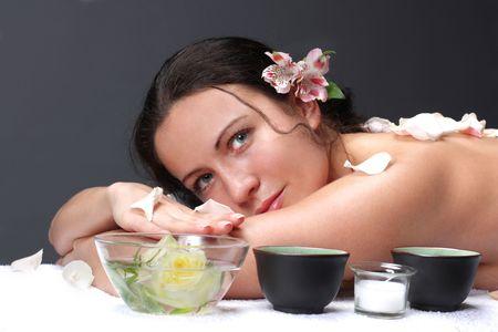 The beautiful woman in spa-salon photo