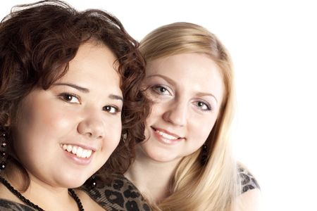 Two girl friends together smiling  photo
