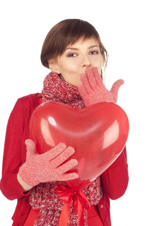 woman with red heart balloon on a white background Stock Photo - 6244771