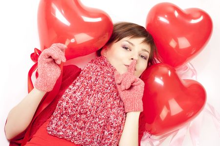 woman with red heart balloon on a white background Stock Photo - 6244836