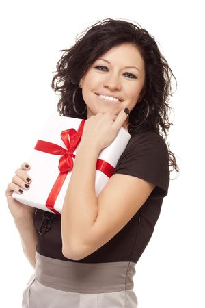 happy girl with a gift over white Stock Photo - 6244852