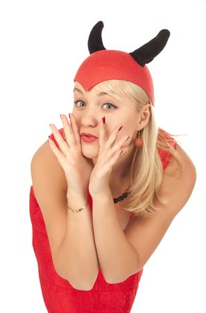 Picture of a girl in a devil costume over white background photo