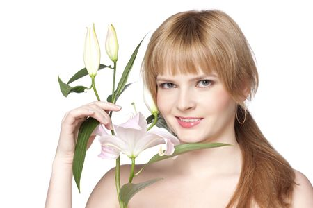 beautiful woman with a lily flower on a white background Stock Photo - 6260861