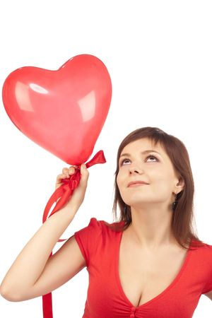 girl with red heart balloon over white photo