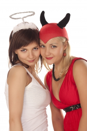 devious: Portrait angel and devil girls over white