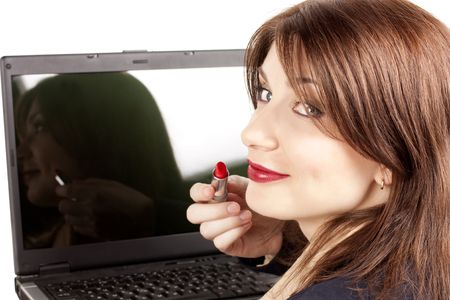 businesswoman with the laptop and red lipstick Stock Photo - 6473146