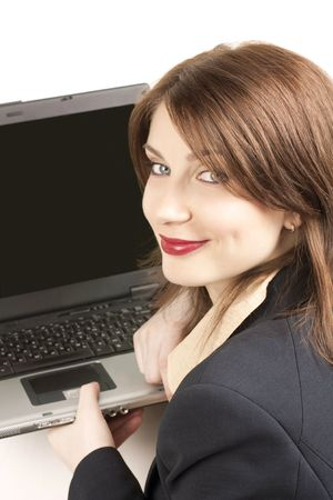 businesswoman with the laptop photo
