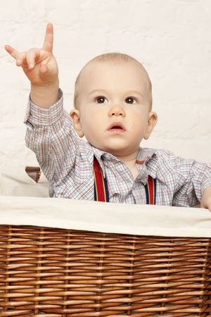little baby in a basket .  photo