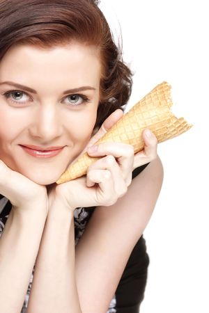 woman with ice cream:  Portrait of young happy woman with ice-cream, isolated Stock Photo