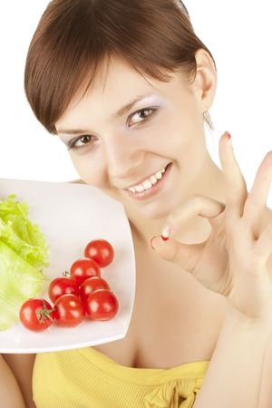 portrait of young beautiful girl with vegetables Stock Photo - 6631999