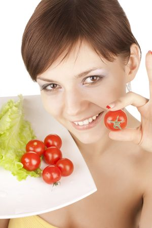 portrait of young beautiful girl with vegetables Stock Photo - 6632001