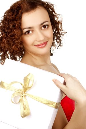 happy girl with a gift over white Stock Photo - 6663073