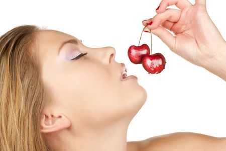 beautiful girl with cherry. Over white Stock Photo - 6696967