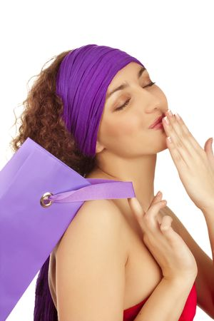 Portrait of  beautiful happy woman with celebratory packages Stock Photo - 6696974