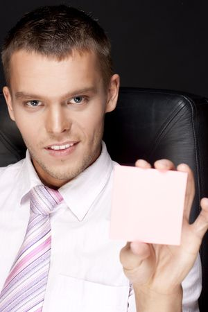 young handsome business man with notes Stock Photo - 6743451