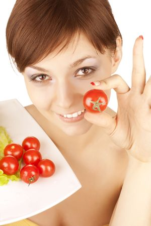 portrait of young beautiful girl with vegetables Stock Photo - 6768641