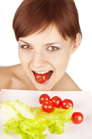 portrait of young beautiful girl with vegetables Stock Photo - 6768645