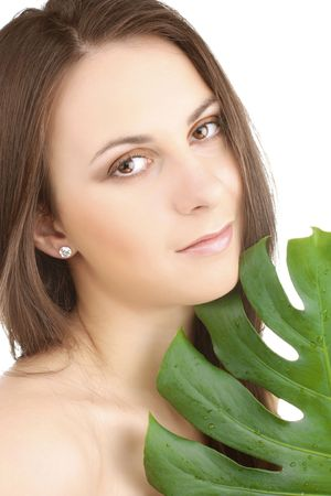 portrait of young beautiful girl with green leaf Stock Photo - 6813219