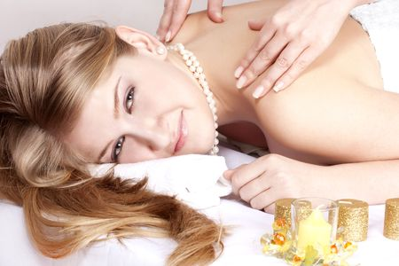 beautiful girl on massage procedures photo