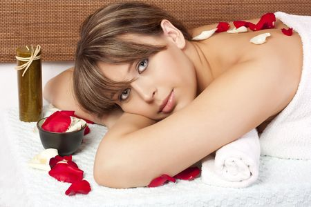 Beautiful woman on massage table photo