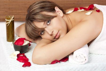 Beautiful woman on massage table photo