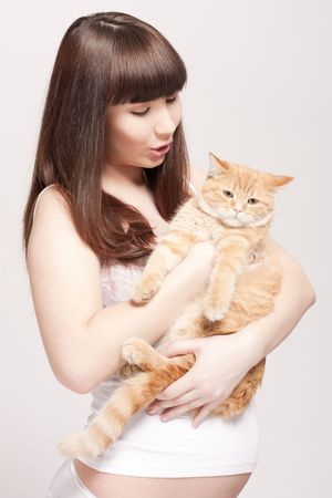 pregnant woman with cat Stock Photo - 6813287