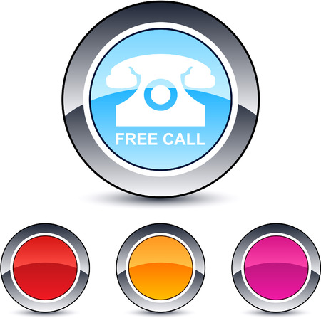 Free call glossy round web buttons. Stock Vector - 7076423
