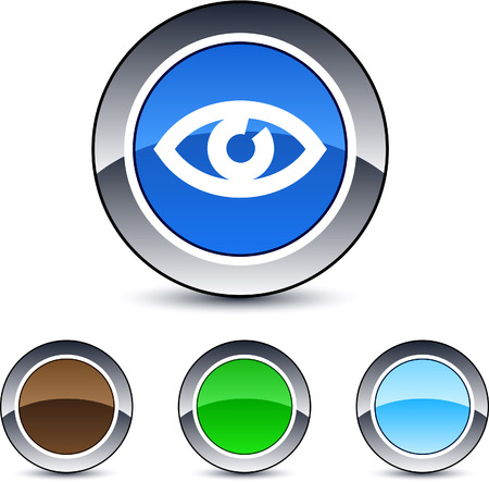 Eye glossy round web buttons.  Vector