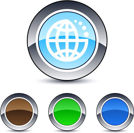Planet  glossy round web buttons.  Vector