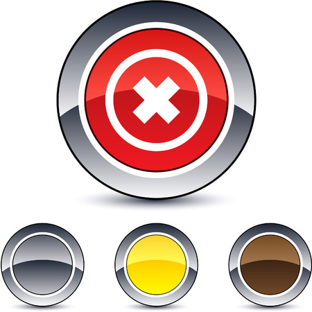 Delete cross glossy round web buttons.  Vector