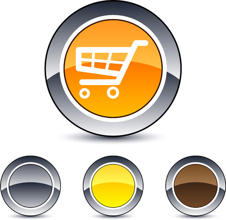 Shopping cart glossy round web buttons.  Vector