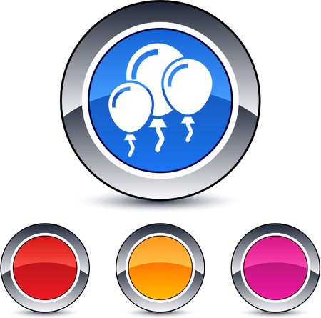 Balloons glossy round web buttons. Vector