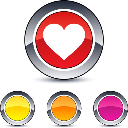 Heart glossy round web buttons.  Vector
