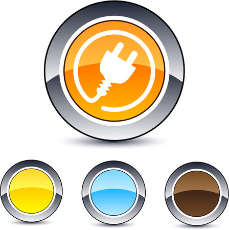 enchufe: Poder enchufe botones web ronda brillante.  Vectores