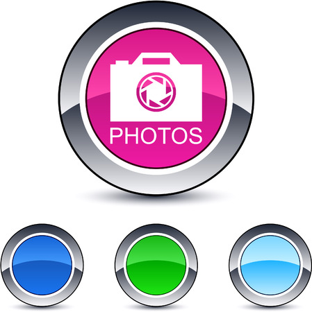 Photos glossy round web buttons.  Vector