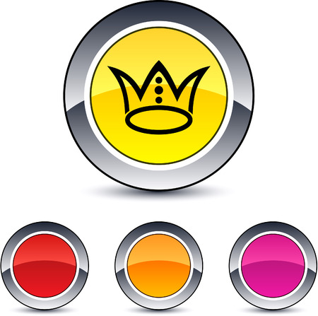 Crown glossy round web buttons.  Vector
