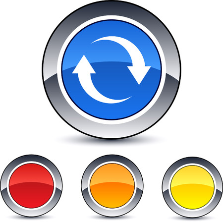 Refresh glossy round web buttons. Stock Vector - 7076440