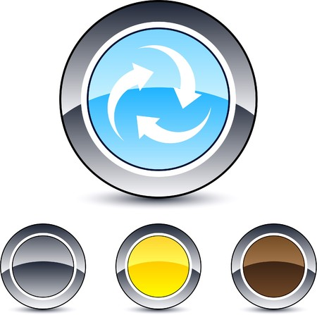 Recycle glossy round web buttons. Vector