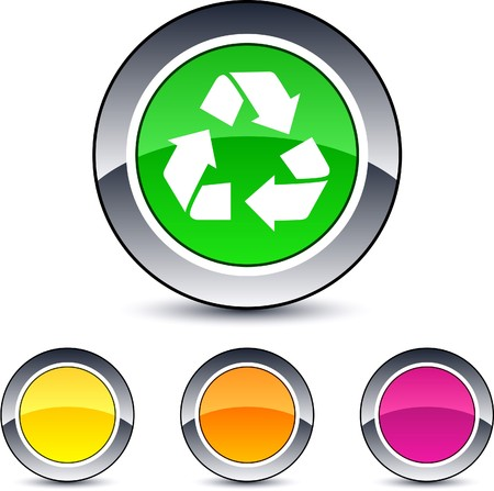 recycling glossy round web buttons. Stock Vector - 7076463