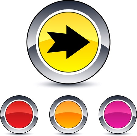 Forward arrow glossy round web buttons.  Vector