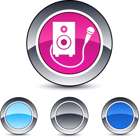 Karaoke glossy round web buttons.    Vector