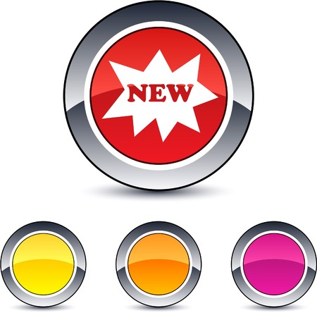 New glossy round web buttons. Stock Vector - 7076472