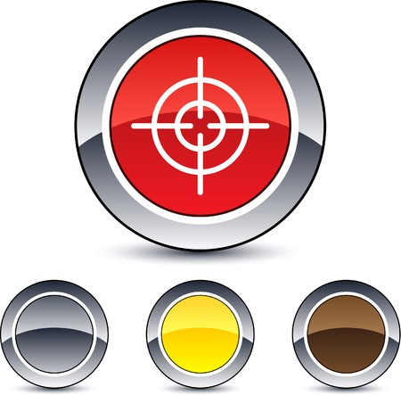 gun sight: Sight glossy round web buttons.  Illustration