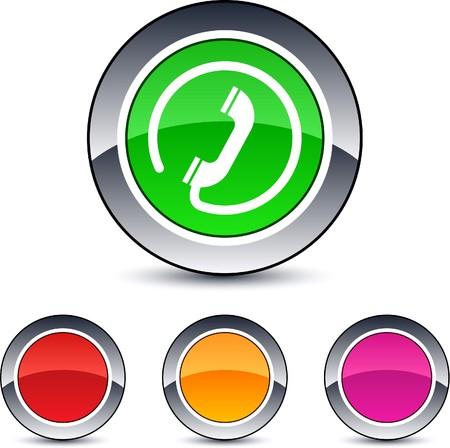 iconos contacto: Llamada brillante ronda botones de web.
