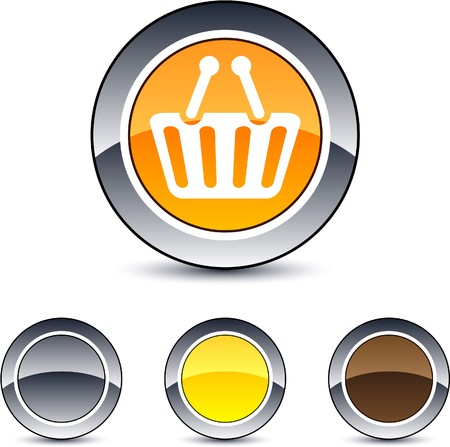 Shopping cart glossy round web buttons. Stock Vector - 7099015