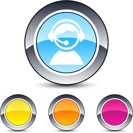 sound icon: Operator glossy round web buttons.  Illustration