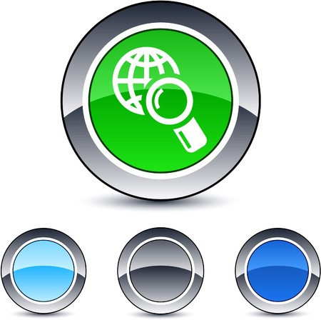 Global search glossy round web buttons.  Vector